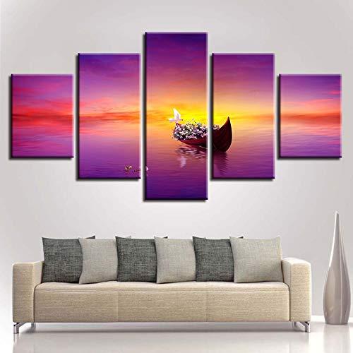 Tong99 Decoratie Canvas woonkamer HD Moderne 5 Board-zonsondergang boot seascape gedrukt afbeelding schilderij muurkunst modulaire poster L-30x40 30x60 30x80cm Geen lijst