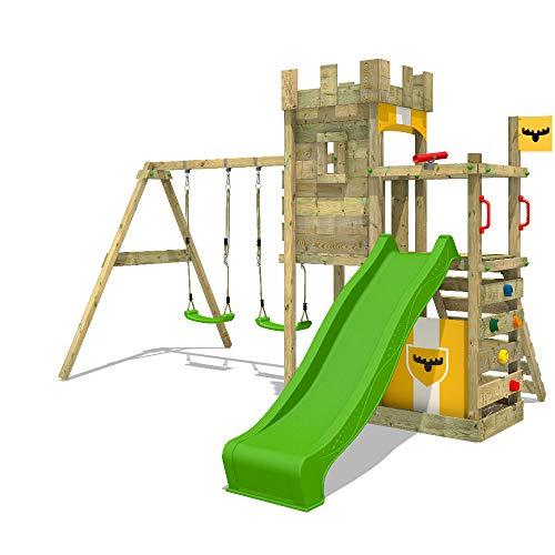 FATMOOSE Spielturm Klettergerüst BoldBaron Boost XXL mit Schaukel & apfelgrüner Rutsche, Kletterturm mit Sandkasten, Leiter & Spiel-Zubehör