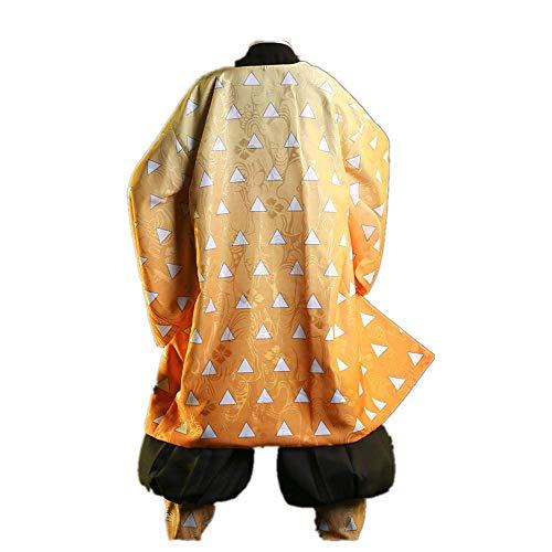MLYWD Ropa Tradicional Japonesa Fotografía Traje de Cosplay Kimetsu no Yaiba/Demon Slayer Agatsuma Zenitsu Diario Casual Kimono Trajes con Accesorios Unisex Adulto Peluca Opcional