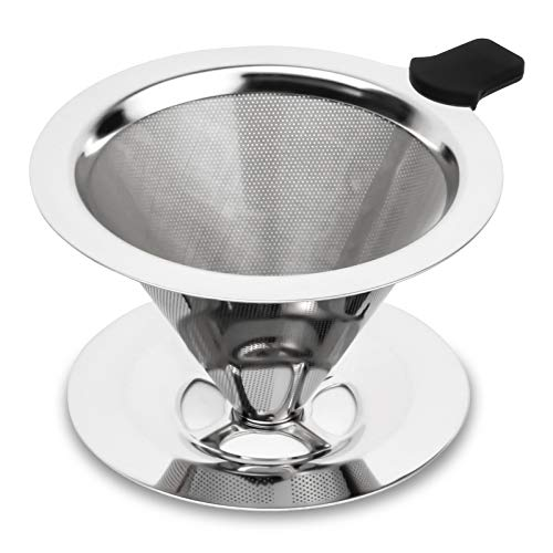 hanmir Pour Over Coffee Dripper Stainless Steel Slow Drip Coffee Filter Metal Cone Paperless