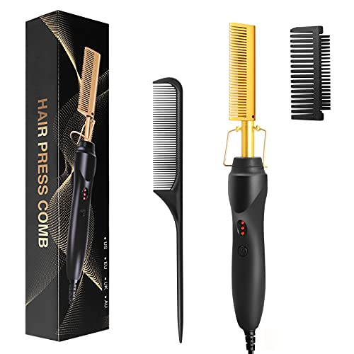 Hot Comb - FITNIUBI Hot Comb Hair Straightener, Electric Heating Comb, Portable Travel Anti-Scald Beard Straightener Press Comb, Ceramic Pressing Comb for Black Hair, Curling Iron Heated Brush