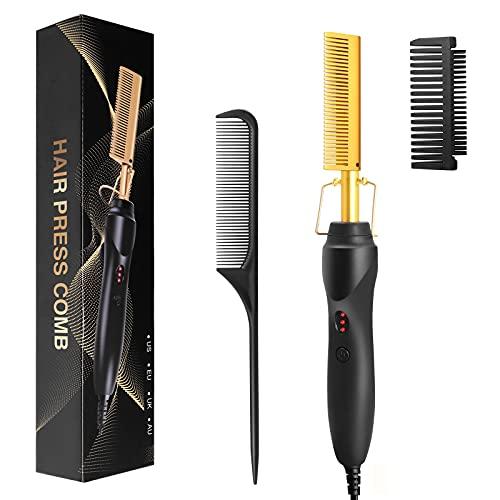 Hot Comb Hair Straightener - FITNIUBI Hot Comb Electric Heating Ceramic Pressing Combs for Black Hair, Copper Hair Straightening Comb Heated Brush, Portable Anti-Scald Beard Straightener Press Comb