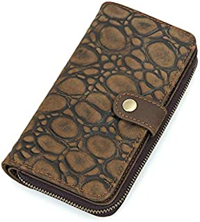 Men's Leather Wallet Long Personality Clutch Bag Right Side Spinning Leather Wallet Card Fashion Trend Suitable for Travel (Color : Brown, Size : S)