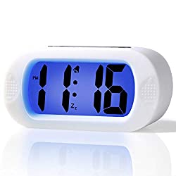 Betus LCD Digital Alarm Clock with Snooze Function and Backlight - Large Screen Big Bold Numbers Desk Digital Alarm Clock with Silicone Protective Cover, Battery Powered (White)