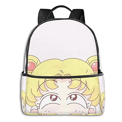 Sailor Moon - Mochila de hombro lateral negra impermeable y antirrobo, mochila universitaria para hombre y mujer