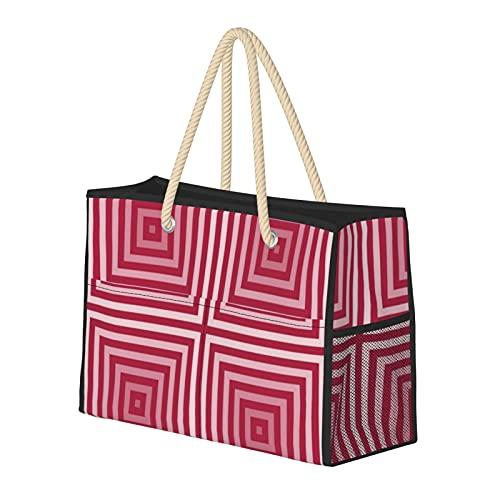 Bolsa de playa grande y bolsa de viaje para mujer – Bolsa de piscina con asas, bolsa de semana y bolsa de noche – Tonos de patrón de caja roja