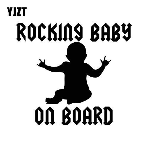 WAXY 16,3x14,5 cm Baby an Bord Lustige Vinyl Auto Aufkleber Rock Baby Scratch Shield Dekoration Aufkleber C25-0098 Silber