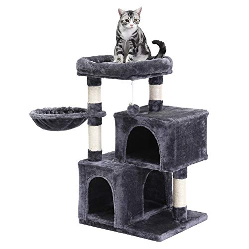 SUPERJARE Cat Tree with Plush Perch & Dangling Balls, Activity Kitten Centre Tower Equipped with Basket, Scratching Posts and Plush Condos - Dark Gray