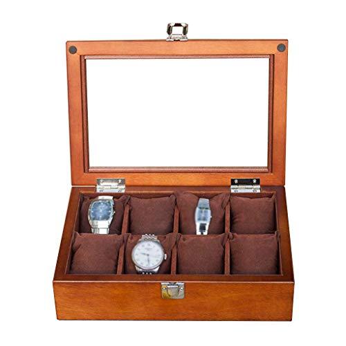 HAILIZI Caja de colección de relojes Pantalla Caja de madera del reloj Relojes de joyería de almacenamiento bandeja pulsera con la caja 8 de eliminación de almacenamiento almohadas, la mancuerna Organ