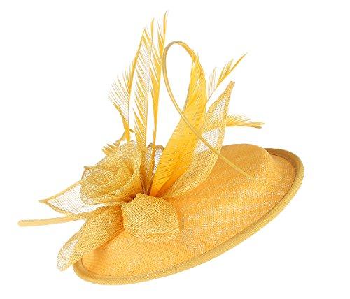 EOZY Mujer Tocado de Pelo Sombrero Vintage con Flor Pluma Amarillo