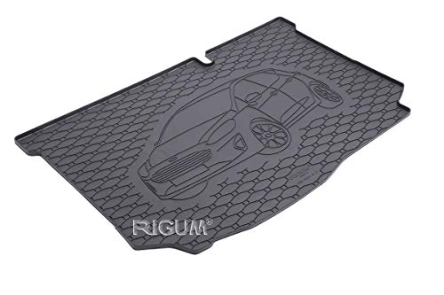 RIGUM Passgenaue Kofferraumwanne geeignet für Ford Fiesta Hatchback ab 2017 + Autoschoner MONTEUR