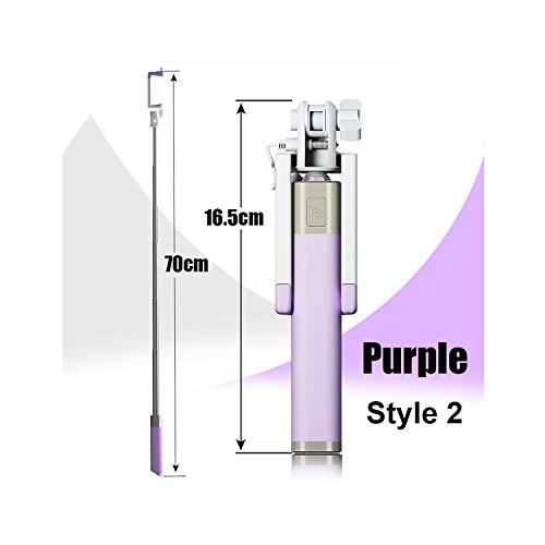 Mini Selfie Stick Met Knop Bedraad Siliconen Handvat Monopod Universeel Voor iPhone 6 5 Android Samsung Huawei Xiaomi Sticks, Style 2 Purple