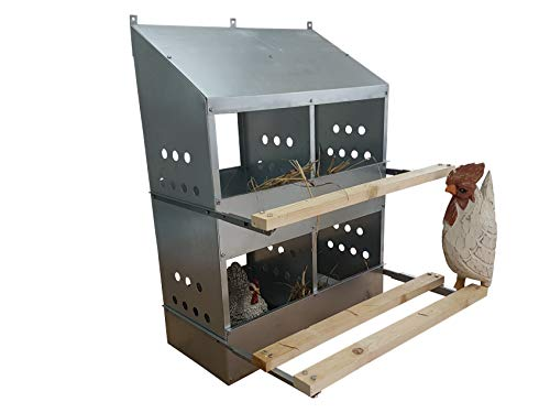 4 HOLE HEAVY DUTY 23ga GALVANIZED CHICKEN NESTING LAYING ROOST BOX MADE IN GERMANY | High front and back panels | Easy to remove and clean | Heavy duty perches hinged upward | Rust resistant 0300111