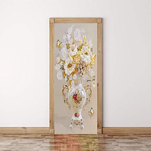 3D Türtapete Wandbilder Selbstklebend Tür Poster Vinyl Entfernbar Mauer Aufkleber 95x215cm Schöne Vasenblume Innentür Kunst Dekoration