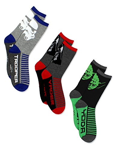 Star Wars Boys 3 pack Socks (Shoe: 10-4 (Sock: 6-8), Grey/Multi Crew)