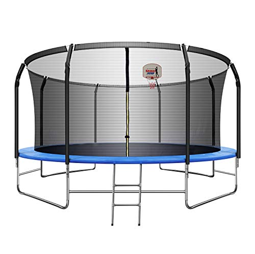 TRIPLE TREE 14 FT Trampoline with Basketball Hoop, Safety Enclosure Net, Waterproof Mat and Ladder, Basketball Trampoline for Kids/Adults, Outdoor Backyard Trampolines, 800LBS Capacity 5-6 Kids