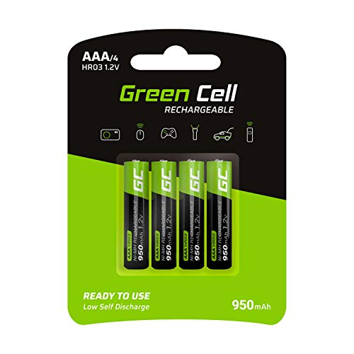 Green Cell 950mAh 1.2V confezione da 4 Pile Ricaricabili Stilo AAA precaricate NiMH, alta capacità, Micro accumulatore, HR03 batteria, Bassa autoscarica