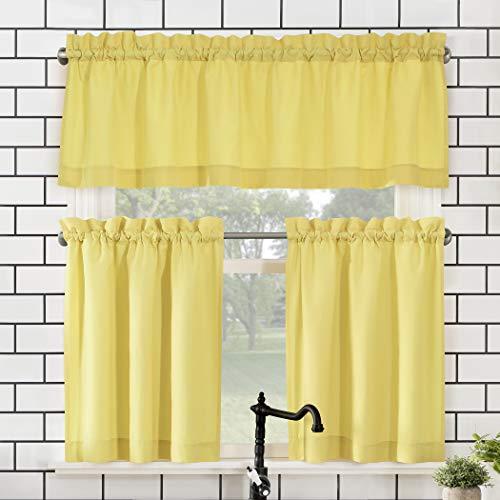 "No. 918 Martine Microfiber 3-Piece Kitchen Curtain Set, 54"" x 36"", Yellow"