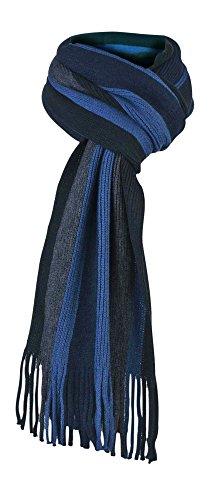 Giovanni Cassini - Herren italienisch inspirierte Streifen Winter Schal (Scarf) (Wide Blauer Streifen)