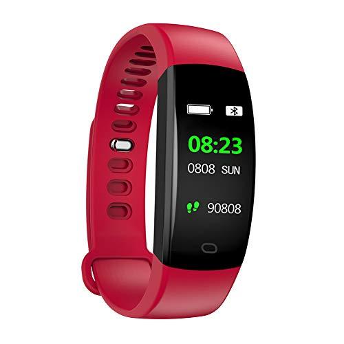 Hunterace Smart Bracelet Watch Fitness Tracker para Hombres Mujeres niños multifunción Impermeable Deporte Pulsera-Rojo