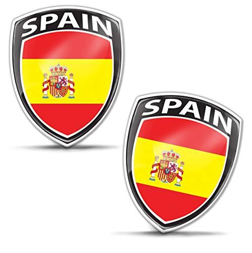 Biomar Labs® 2 x Aufkleber 3D Gel Silikon Abzeichen Stickers Auto Motorrad Fahrrad Fenster Tür PC Handy Tablet Laptop Spanien Spain Spanische Spanish Flagge Fahne Flag F 153