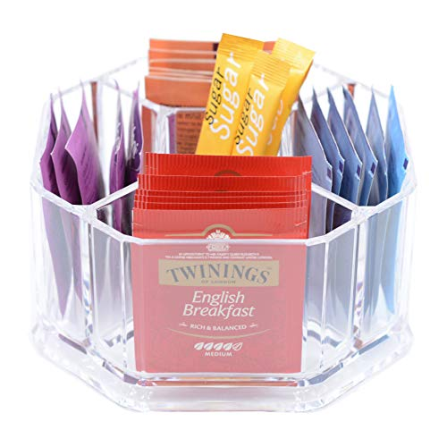 Oak Savanna Tea Organizer for Tea Bags Sugar Packet Holder Caddy - Clear Acrylic Tea Bag Organizer for Pantry Cabinet Countertop Coffee Station Kitchen Counter