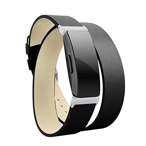 ZMJING for Fitbit Inspire&Fitbit Inspire HR バンド レザー製 二重巻き型 スポーツウォッチ ストラップfor Fitbit Inspire/Fitbit Inspire HR スマート時計 オシャレ (ブラック)