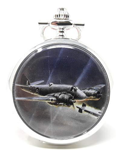 Bristol Beaufighter Montre à gousset mécanique analogique pour homme avec remontage manuel Argenté 40 mm
