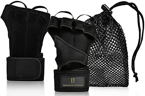 Absolute-Us ®-Fitnesshandschuh aus Leder und Neoprene-Funktionale Gym Handschuhe mit 40 cm Handgelenkbandage, Handfläche aus Leder, offenem Handrücken und Fingerschlaufen zum einfachen Ausziehen.