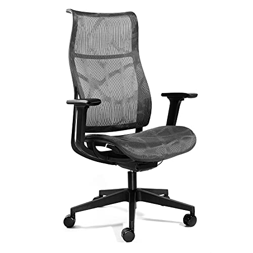 AITTA Office Chair Ergonomic Mesh Seat and Back Computer Gaming Chair with Lumbar Support, 3D Armrest, Build-in Headrest, Adjustable Reclining Executive Task Chair, Grey