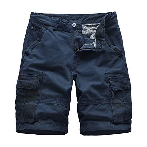 XIEPEI 2020 Shorts d'été Salopette de Camouflage en Coton Pantalon Multi-Poches pour Hommes de Grande Taille