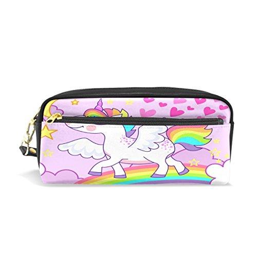 Trousse, Cute Unicorn Rainbow Imprimé Voyage Maquillage Pouch Grande capacité étanche Cuir 2 compartiments pour fille garçon Femme Homme Rose