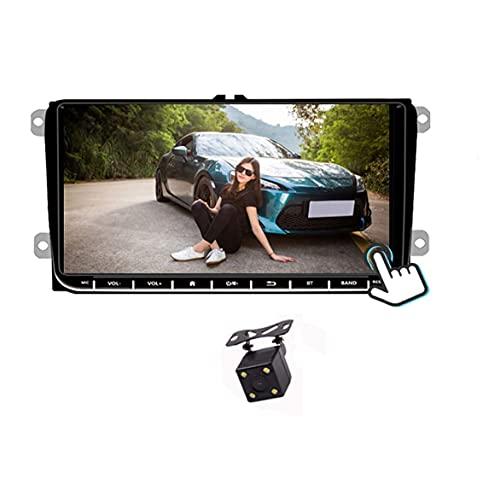 GOFORJUMP 2 DIN Android 9'GPS Navigatore per Auto Radio Stereo Media Player per Bora Golf VW Polo Volkswagen Passat B6 B7 Touran con Telecamera Posteriore