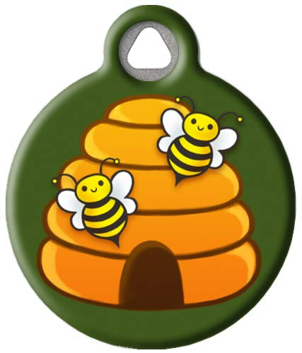 Dog Tag Art Happy Honey Bee Hive Pet ID Tag for Dogs and Cats Large Size