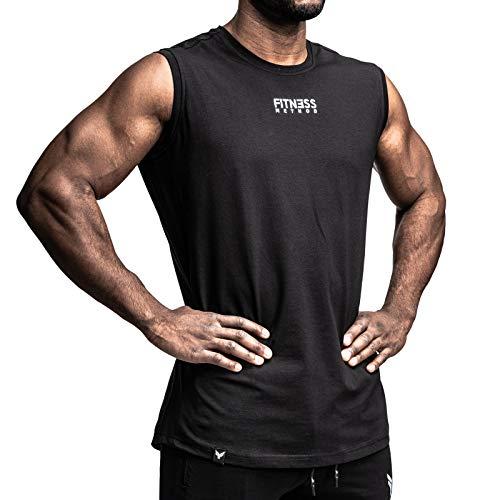 Fitness Method® Tank Top Herren, INNOVATIVES Achselshirt für Sport und Freizeit - Ärmelloses Shirt, Unterhemd,Sleeveless T-Shirt, Tanktop (Schwarz, M)
