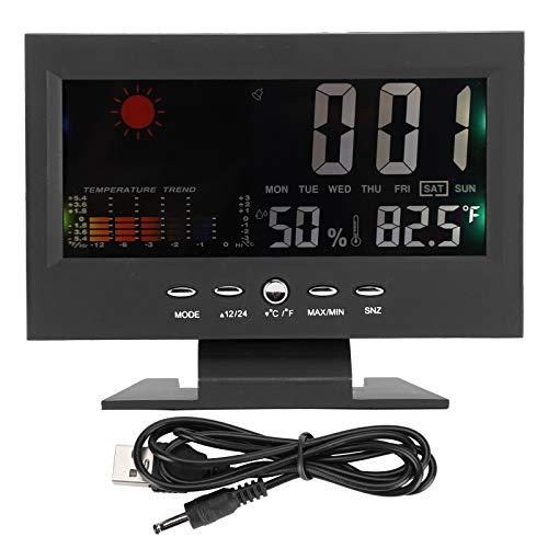 Haowecib Higrómetro Digital multifunción higrómetro Profesional con Pantalla LCD para Interior y...