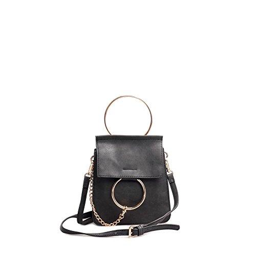 Viviesta Damen-Handtasche mit rundem Schloss, Schwarz - Schwarz  - Größe: One Size
