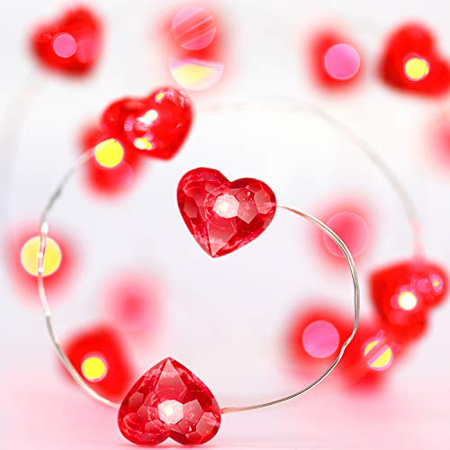 Frienda Red Heart String Light, 10ft 40 LEDs Wedding Decoration Battery Powered with 12 Modes, Remote and Timer for Wedding Anniversary Birthday