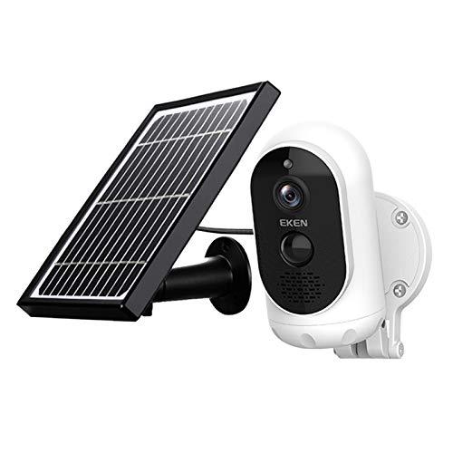 Prettyia Cámara Full HD con Panel Solar IP65 detección de Movimiento 6000mAh batería inalámbrica de Seguridad cámara IP 5V/1,5 ATwo-Way Audio al Aire Libre 140