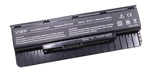 vhbw Batterie Compatible avec ASUS G551JK-CN122H, G551JK-CN162H, G551JK-CN271H, G551JK-CN280D Laptop (4800mAh, 10,8V, Li-ION, Noir)