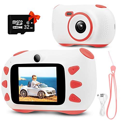Cámara para niños Rumia, cámara digital con pantalla IPS de 2 pulgadas, 1080P HD, tarjeta TF de 32 G, regalo para niños y niñas (rosa)