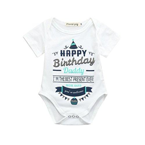 PAOLIAN Mameluco para Unisex Bebe niños Verano 2018 bautiz Monos Ropa recién Nacidos bebés niños niñas Peleles Fiestas con Alfabeto de Happy Birthday Bodies de 3 Meses - 18 Meses (6M, Blanco)