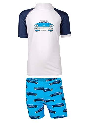 JUJA - Juego de baño UV para niños, diseño de Coches Antiguos, Color Blanco y Azul, Niños, S20330-196|2, Blanco, 86-92cm