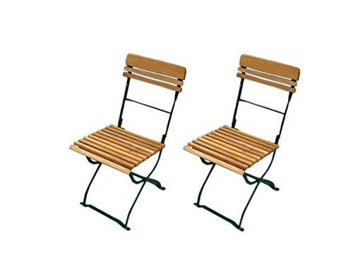 lifestyle4living Biergartenstuhl 2er Set aus Robinienholz, Gestell aus Flach-Stahl (dunkel-grün) klappar | Hochwertiger wetterfester Gartenstuhl (Gastronomie geeignet)