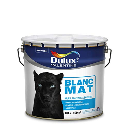 Peinture murs et plafonds Dulux Valentine - phase Aqueuse Bicouche Mat Blanc 10 L