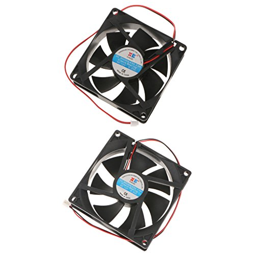 IPOTCH 2Pack 92mm + 80mm 12V Red Computadora/PC/CPU Refrigeración Silenciosa Caja Ventilador