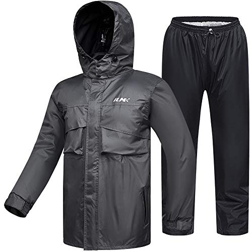 ILM Motorcycle Rain Suit Waterproof Wear Resistant 6 Pockets 2 Piece Set with Jacket and Pants Fits Men (Men's X-Large, Gray)