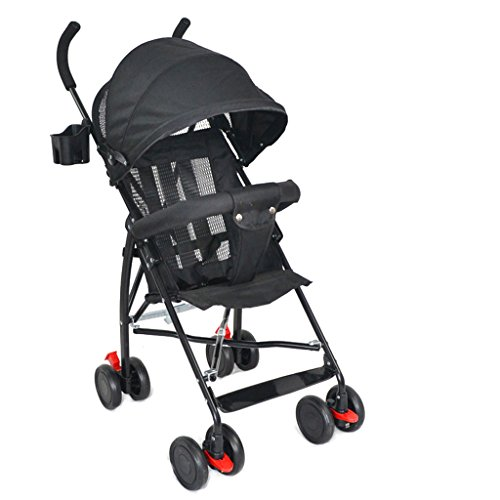 Sillas de paseo Cochecito de bebé Simple Ultra-light 4 Wheels Cochecito de bebé, Anti-joroba Shock-absorbing con portavasos Baby Umbrella Cart, Material de acero plegable de carbono Children's Pushcha