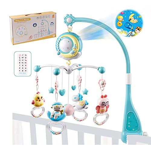 Móvil de cuna musical para bebé, Todos hacen Cuna móvil para bebé giratoria de 360 ° con música, luces, Juguete de cuna Born colgante Juguete de campana de cama con control remoto y proyección