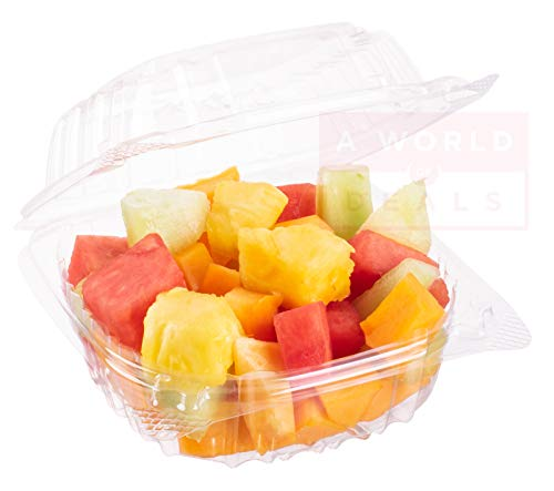 A World Of Deals Clamshell Square Clear Hinged [50 Pack] Take-Out Plastic Salad Go Sandwich Containers [Size: 5 3/8' x 5 1/4' x 2 5/8']